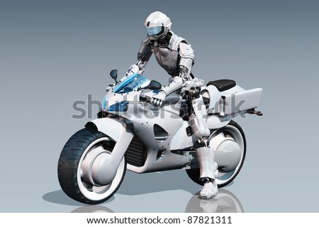 Cyborg and a motorcycle on the mirror surface.