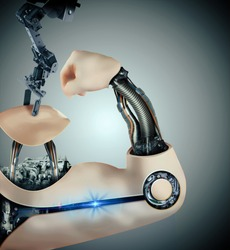 cyborg arm in assembly line isolated on light background