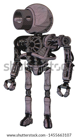 Cyborg containing elements: cable connector head, heavy upper chest, no chest plating, ultralight foot exosuit. Material: Dark dirty scrawl sketch. Situation: Standing looking right restful pose.