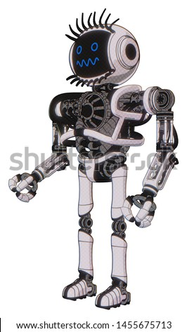 Cyborg containing elements: digital display head, stunned expression, eye lashes deco, heavy upper chest, no chest plating, ultralight foot exosuit. Material: White halftone toon.