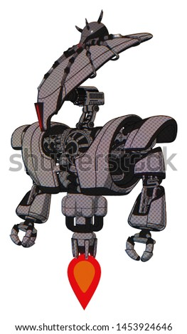 Cyborg containing elements: flat elongated skull head, spider crown, heavy upper chest, heavy mech chest, jet propulsion. Material: Halftone gray. Situation: Standing looking right restful pose.