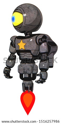 Cyborg containing elements: giant eyeball head design, light chest exoshielding, yellow star, rocket pack, jet propulsion. Material: Unpainted metal. Situation: Standing looking right restful pose.