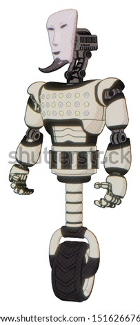 Cyborg containing elements: humanoid face mask, light chest exoshielding, chest green blue lights array, unicycle wheel. Material: Yellowed old plastic. Situation: Standing looking right restful pose.