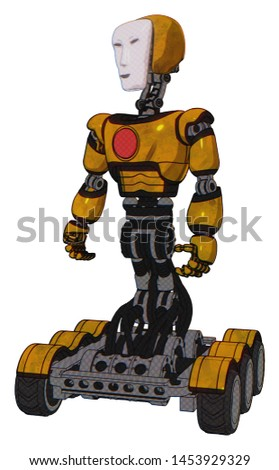 Cyborg containing elements: humanoid face mask, light chest exoshielding, red chest button, six-wheeler base. Material: Worn construction yellow. Situation: Standing looking right restful pose.