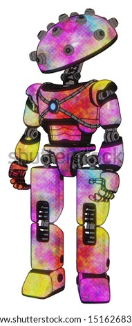 Cyborg containing elements: plughead dome design, light chest exoshielding, blue energy core, prototype exoplate legs. Material: Plasma burst. Situation: Standing looking right restful pose.