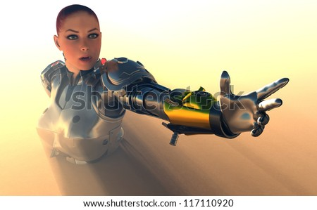 Cyborg girl on a yellow background. - stock photo