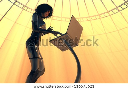 Cyborg girl with a computer on a yellow background.