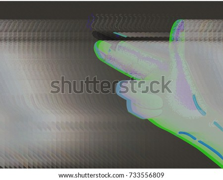 Stock Photo Cyborg Hand gun glitch art Dystopian, post apocalytpic illustration