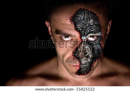 Cyborg humanoid portrait