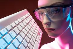 Cyborg production. Cyborg face similar to human. Woman robot face close up. Concept robot production. Keyboard next to cyborg. Keyboard as symbol of robot control. Robotization. Modern technologies