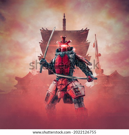 Cyborg samurai warrior - 3D illustration of science fiction cyberpunk armoured robot with katana swords with oriental buildings in background