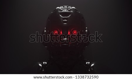 Cyborg with red luminous eyes on black background. Front view of science fiction cyborg with a shiny dark metal. Robot with artificial intelligence. Robot man with artificial metal face. 3D rendering. Сток-фото ©