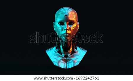 Cyborg with with Red Orange and Blue Green Moody 80s lighting Front 3d illustration 3d render Сток-фото ©