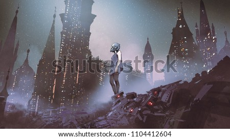 Stock Photo cyborg woman standing on piles of electronic waste against futuristic city, digital art style, illustration painting