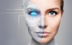 Cyborg woman with machine part of her face. Over gray background.