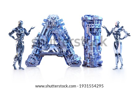 Cyborgs android robots standing near AI letters isolated. Artificial intelligence, automation, robotic technology, futuristic computer learning concept. Cyber innovations, future robot 3D illustration