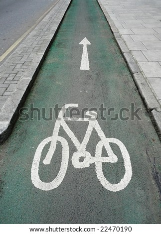 Cycle lane in Central London, UK