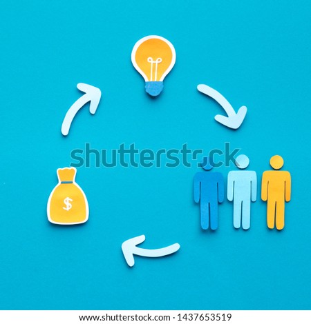 Cycle of crowdfunding. Investors giving money for new idea, closed round, copy space #1437653519