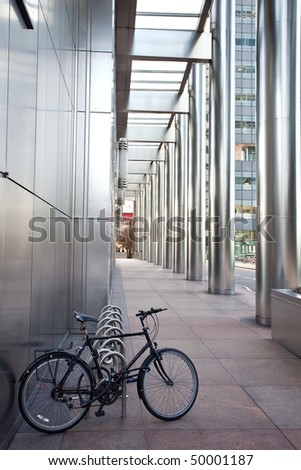 Cycle to work. Bike at business office building