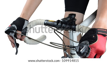 Cycler riding on bike with clipping path