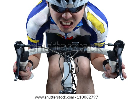 stock photo : Cycler riding on bike with clipping path