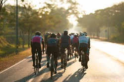 Cycling group training in the morning