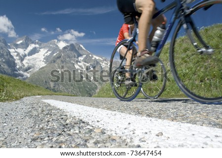 Cycling in the french alps. France.