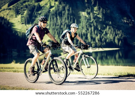 Cycling Seniors by the Lake