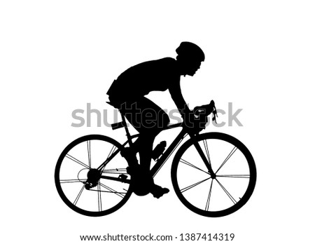 Cycling Silhouette on white background