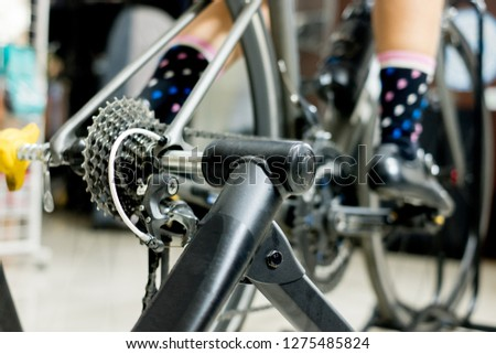 Cycling Training on Bike Trainer for Cyclist