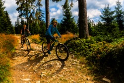Cycling woman and men riding on bikes on forest gravel road. Couple cycling MTB enduro flow trail track. Outdoor sport activity.