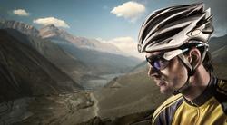 Cyclist. Dramatic close-up portrait