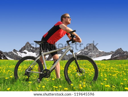cyclist in the Alps