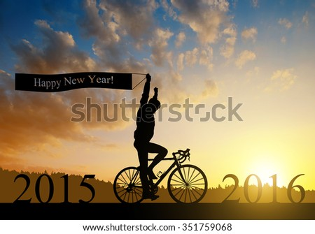 Cyclist on bicycle at sunset. Forward to the New Year 2016 #351759068