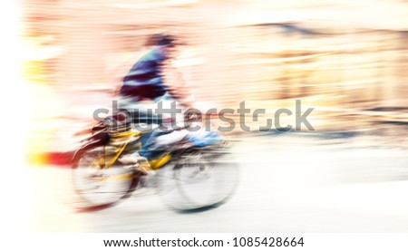 cyclist on the city roadway in...