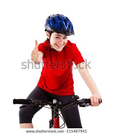 Cyclist showing OK sign isolated on white background