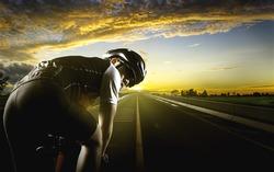 Cyclist. Sport man cycling on road.