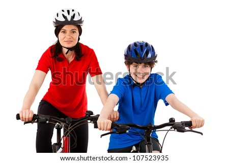 Cyclists isolated on white background