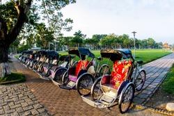 Cyclo (pedicab) Beautiful Color in Hue Province. Vietnam