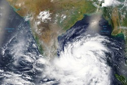Cyclone Amphan intensifies into severe storm over the Bay of Bengal in May 2020 - Elements of this image furnished by NASA
