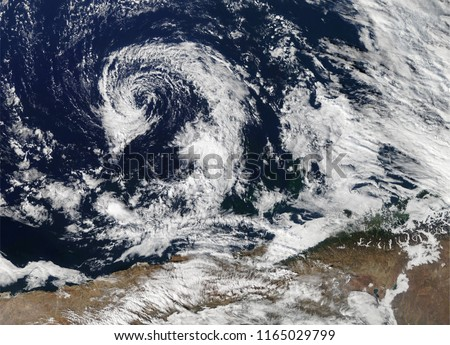 Cyclone Fani hurricane cyclone view from space, from above, the sky. Hurricane India. Typhoon. Elements of this image are furnished by Nasa. #1165029799