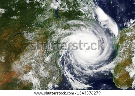 Cyclone Idai heading towards Mozambique and Zimbabwe in 2019 - Elements of this image furnished by NASA