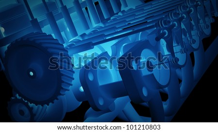 Cylinder crank xray blue background High resolution. 3D image