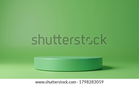 Cylinder podiums on green background. Abstract pedestal scene with geometrical. Scene to show cosmetic products presentation. Mock up design empty space. Showcase,shopfront,display case,3d render