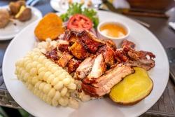 Cylinder pork dish. Chunks of pork meat.