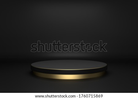 Cylinder shape of product display, Luxury and modern concepts, Black and gold colors, 3D Rendering.