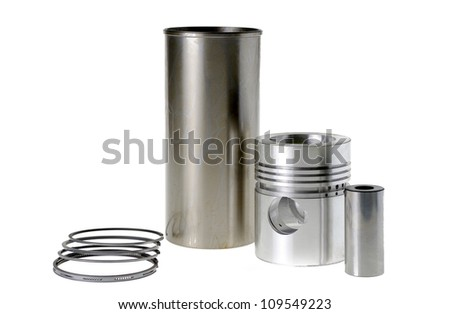 Cylinder with a piston isolated on white.