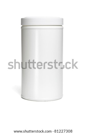 Cylindrical shape plastic container on white background