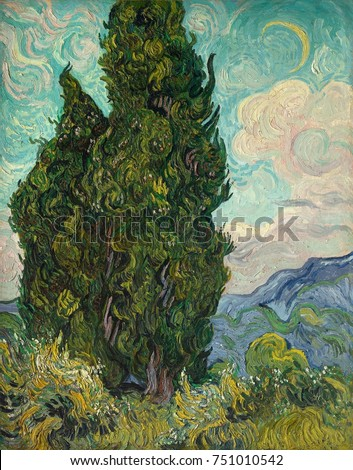Cypresses, by Vincent Van Gogh, 1889, Dutch Post-Impressionist, oil on canvas. Van Gogh described the cypress as the dark patch in a sun-drenched landscape. It was shown in the Salon des Independents