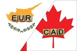 Cyprus and Canada currencies codes on national flags background. International money transfer concept